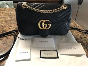 Authentic Gucci GG Marmont Matelasse Shoulder Bag Small Black Leather
