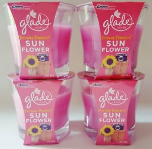 4 GLADE PICTURE PERFECT SUN FLOWER SCENTED WAX SUMMER OIL CANDLES 3.8 OZ EA NEW $29.99