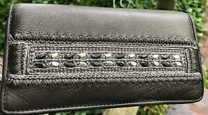 BRIGHTON ANJU JEWELED beaded pewter leather Large WALLET ORGANIZER Clutch Purse