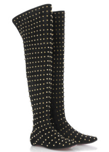 RARE HTF Christian Louboutin Black & Gold Studded Suede Over the Knee Boots OTK