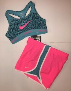 NWT Nike Tempo Dri-Fit Girl's Running Gym shorts & Sports Bra Set 728094-640 XL
