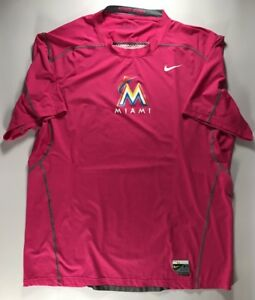 Miami Marlins Team Issued Pink Mothers Day Nike DriFit Shirt Size XXL