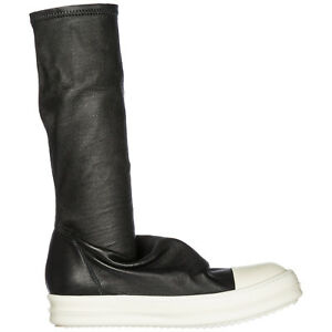 RICK OWENS WOMEN'S LEATHER BOOTS NEW BLACK A8B