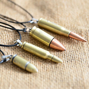 1Pcs Unisex Fashion Jewelry Steel Bullet Pendant Necklace Chain Cool Gift Charm