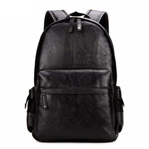 Preppy Style Leather School Backpack Bag For College Simple Design Men Casual