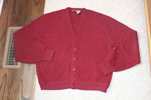 Vintage Jantzen 3 Under Golf Red Acrylic Cardigan Sweater XL Made USA XL Maroon $24.99