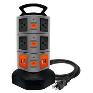 10 Outlet Plugs 4 USB Power Strip Tower Surge Protector Charging Station