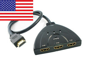 3 Port 1080p 3D HDTV XBOX HDMI PS3 PS4 Auto Switch Splitter Hub with 50cm Cable