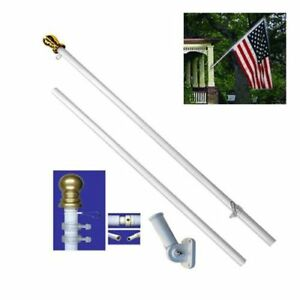 American Flag Pole Kit Wall Mount 6 Ft Spinning 3#x27;x5#x27; US Flag Gold Ball Steel