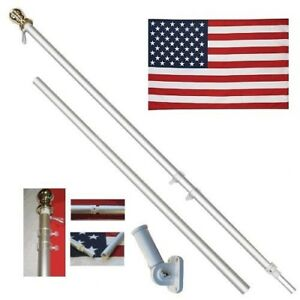 American Flag Pole Kit Wall Mount 6 Ft Spinning 3#x27;x5#x27; US Flag Gold Ball Aluminum