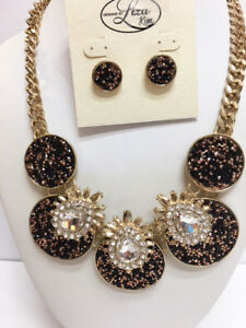 New Liza Kim Designer Gold & Black Crystal Statement Necklace & Earring Set