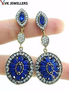 TURKISH HANDMADE JEWELRY 925 STERLING SILVER SAPPHIRE VICTORIAN EARRINGS E1076