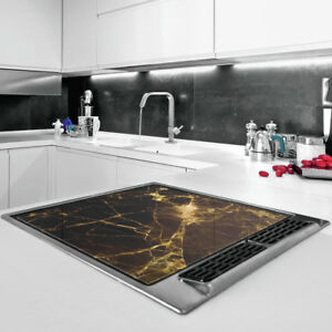 60 x 52 Tempered Glass Chopping Board Cooker Hob Cover Protection -  Easy Clean