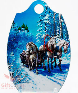 Wooden cheese cutting board Russian famous winter horse troika handmade