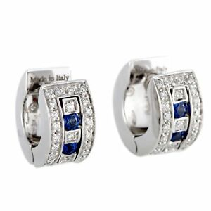 Damiani Belle Epoque 18K White Gold Diamond and Sapphire Small Hoop Earrings