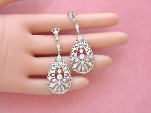 ESTATE DIAMOND PLATINUM LONG STUD DANGLE COCKTAIL STATEMENT EARRINGS