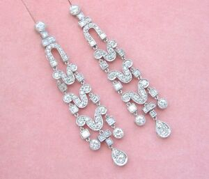 ESTATE 5.60ctw DIAMOND PLATINUM LONG STUD DANGLE COCKTAIL STATEMENT EARRINGS