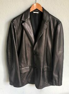 Ermenegildo Zegna Collection Lambskin Leather Jacket Dark Brown EU50 US M $2995
