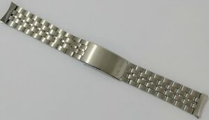 NOS Vintage BULOVA Watch Bracelet Band ALL STAINLESS STEEL 18mm wTri-Fold Clasp