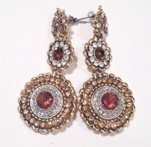 Vintage Oversized Statement Costume Cocktail Earrings Amber Rhinestone Gold Tone