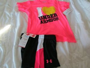 NEW Girls 2Pc UNDER ARMOUR OUTFIT Pink Graphic ss+Blk Shorts YMD FREE SHIPPING