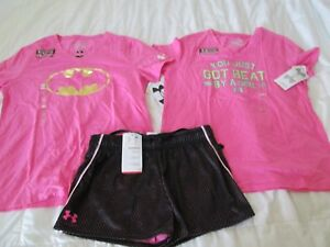 NEW Girls 3Pc UNDER ARMOUR OUTFIT Pink Graphic+BATMAN+Blk Shorts YLG FREE SHIP