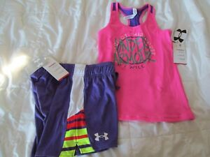 NEW Girls 2Pc UNDER ARMOUR OUTFIT Purple Shorts+Pink Tank Top Ymd FREE SHIP