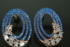 Turkish 0.5 Topaz Sapphire Baguette 925 Silver Rose Gold Peacock Stud Earrings