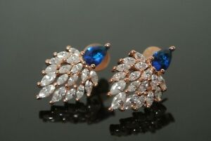 Turkish 0.05 Ct Topaz Sapphire 925 Sterling Silver Swimming Peacock Earrings