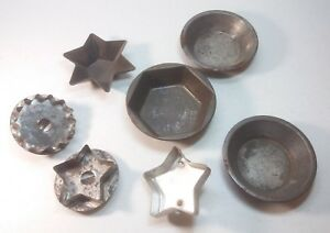 Antique Tin Cookie Pastry Cutter Baking Pie Pan Mold Lot Star Hexagon Round