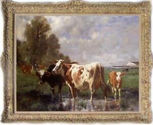 "Old Master-Art Antique animal Oil painting Portrait milk cow on Canvas 30""X40"