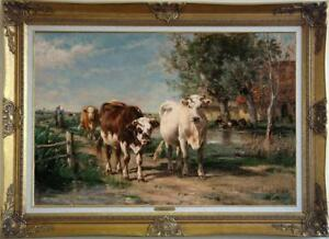 "Old Master-Art Antique animal Oil painting Portrait milk cow on Canvas 24""x36"