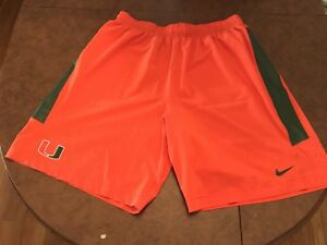 University Of Miami Hurricanes Nike Dri Fit Football Shorts Mens XXL Baseball FL