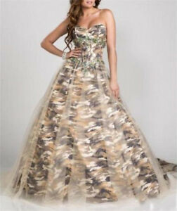Camo Wedding Dress Beading Bridal Gowns Formal Ball Gown Camouflage Custom Size