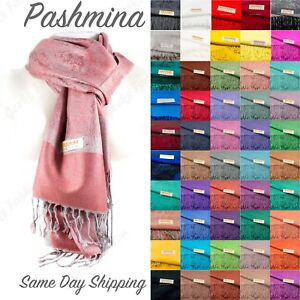 s2PLY LONG 78X28 Solid Silk Pashmina Shawl Wrap Stole Cashmere Wool Silk Scarf $6.99