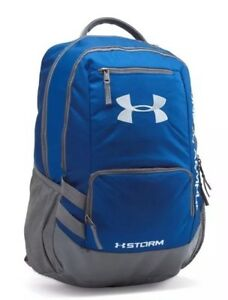 UA Hustle II Under Armour Storm Backpack Book Bag Blue & Gray NWT