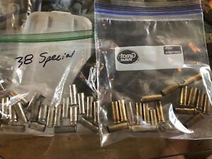38 special 17 silver and 19 brass empty casings reloading rounds