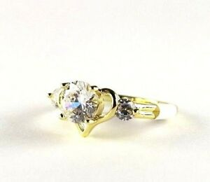 White Topaz simulated gemstone ladies 9K Yellow Gold fill ring size 5.75 R*16949