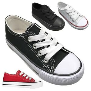 NEW Baby Toddler Canvas Lace Up Low Top Sneakers Shoe Size 4 to 9 Boys Girls