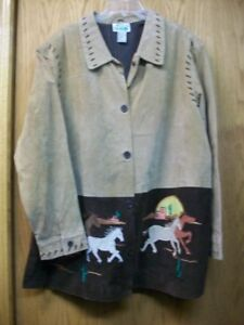 THE QUACKER FACTORY WOMEN'S PLUS SIZE 2X SUEDE LEATHER HORSE JACKET COAT-EUC!