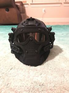 Airsoft Helmet And Full Mask (BLACK)