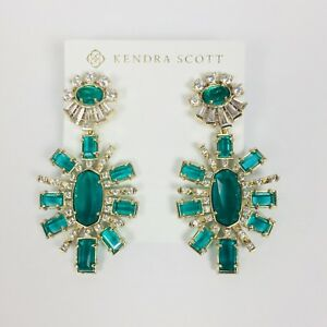 Kendra Scott NWT Glenda Statement Earrings In Emerald Glass Holiday Cocktail