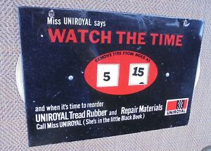 Vintage Uniroyal Tire Watch The Time Tire Mold Sign Gas & Oil Display