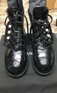 BNIB Chanel Combat Boots Black Leather with pearl detail size 38