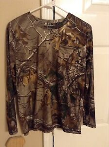 Boys Youth Carhartt Long Sleeve Pocket Dry Fit Camo Shirt Size L 1416