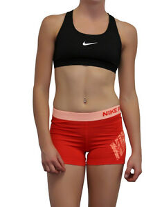 Nike Pro Orange Dri Fit Women Girls Running Jogging Exercise Size S Gym Shorts A