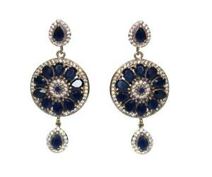 Turkish Hurrem Round Blue Sapphire Gemstone 925 Sterling Silver Earring Jewelry