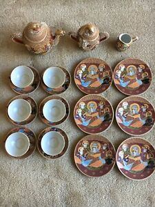 21 Pc Satsuma Moriage Tea Set Japanese Dragonware Red Gilt Geisha Lithophane