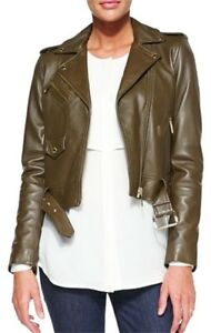 michael kors Olive Brown leather Moto jacket Xxs