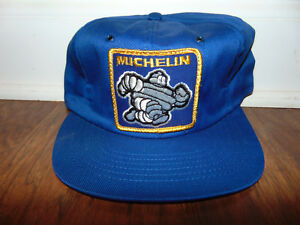 Vintage Michelin Man Blue Embroidered LARGE Patch SnapBack Trucker Hat Cap 80s
